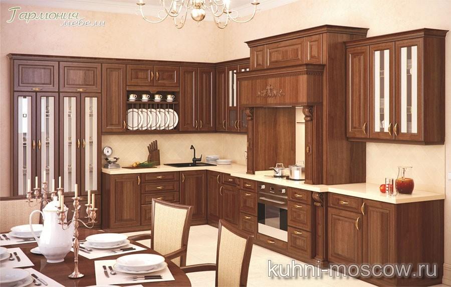 Угловая кухня из массива «Шоколадное пианино»