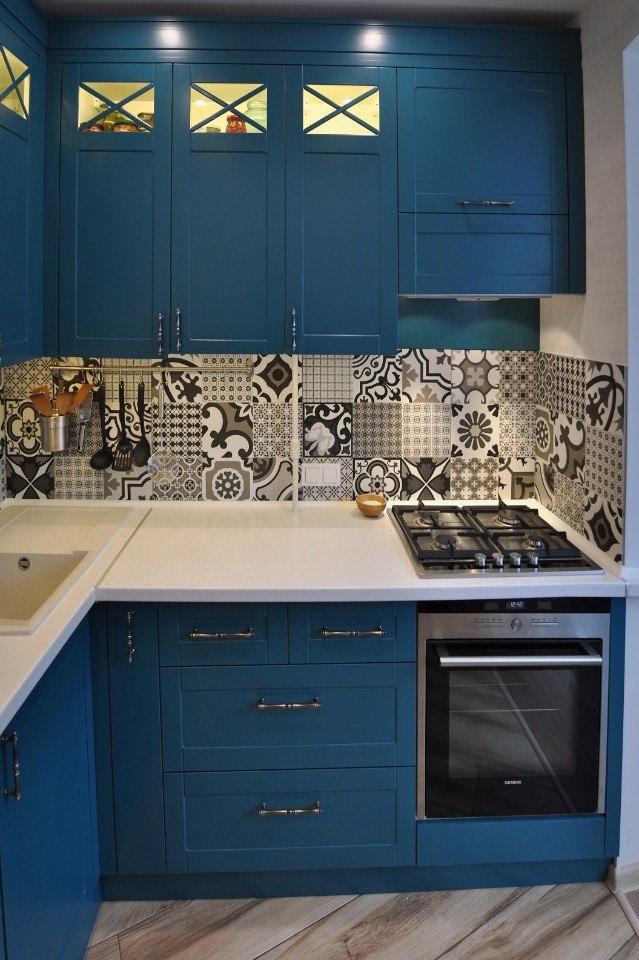 Кухня синяя из МДФ
