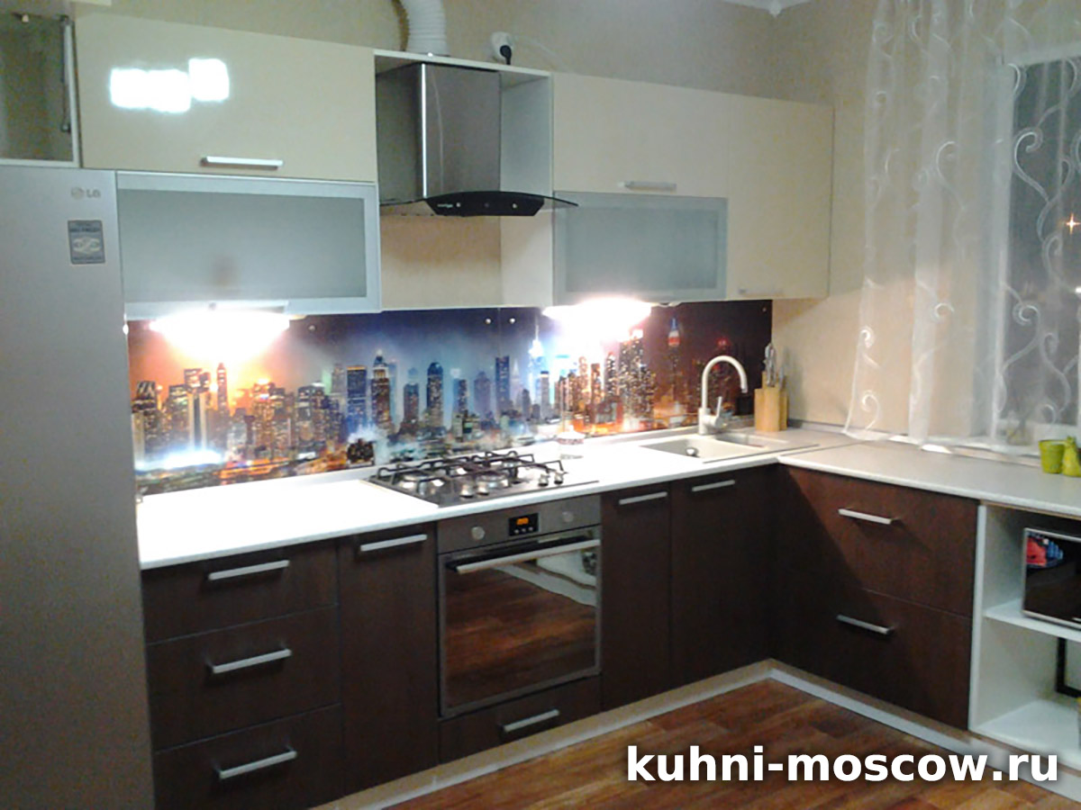 Темно коричневая кухня Анастасия